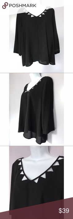 {Mitto Shop} Cutout Neck 3/4 Sleeve Blouse 3/4 tab sleeves. Fantastic cut out detail at neck. Worn once. Mitto Shop Tops