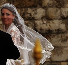 great shot of the lace on her veil katemiddleton. The lace was all hand made by English lace makers in secret for months before the wedding