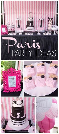 A Paris themed girl birthday party in pink and black with amazing decorated cookies and treats! See more party planning ideas at CatchMyParty.com!