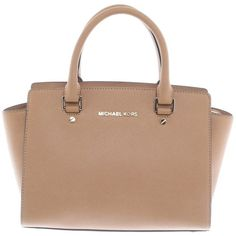 "Pre-owned """"Selma"""" brown bag ($235) ❤ liked on Polyvore featuring bags, handbags, accessories, purses, brown, michael kors purses, brown purse, leather man bags, genuine leather handbags and beige purse"