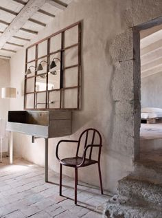 #reforma #baño en casa rural rehabilitada, mueble reutilizado como lavabo, grifos de pared, suelo de ladrillo.