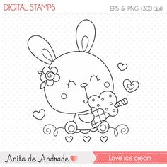 50% OFF Bunny loves ice cream Stamp - personal and commercial use, line art, graphics, digital clip art, digital images - S003