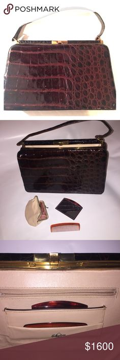 Vintage Bellestone authentic real crocodile bag Vintage timeless classic bag by Bellestone.  Made of real crocodile, this bag is in excellent condition.  Gorgeous brown color with brass hardware. Tiny crack in hide is depicted.  Please look at that and make sure you're ok w it before buying.  Natural croc hide has imperfections from scarring and that is normal. Bag came with matching leather coin purse, tortoise comb and mirror...all with pockets especially for each item.  True 1950's glam…