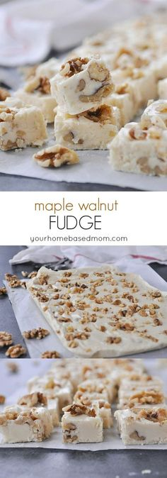 Walnut Fudge Maple Walnut Fudge Recipe for the holidays!Maple Walnut Fudge Recipe for the holidays! Fudge Recipes, Candy Recipes, Dessert Recipes, Recipe For Fudge, Maple Walnut Fudge Recipe, Maple Fudge, Just Desserts, Mini Desserts, Homemade Candies