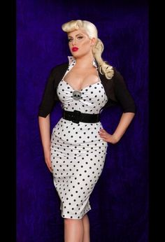 """Polka Dot Wiggle Dress - """"Deadly Dames"""" Fitted Wiggle Dress in White with Black Polka Dots"""