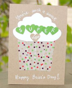Sweet SUPERvisor Boss's Day Card by thepaperhugfactory on Etsy, $4.00 Bosses Day Cards, Happy Boss's Day, Diy Cards, Handmade Cards, Office Parties, Teacher Appreciation Gifts, Card Tags, Paper Goods, Cool Gifts