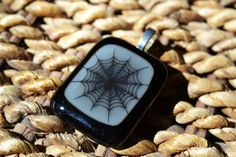FUSED GLASS JEWELRY  Spider Necklace for Halloween by BillyandPurts