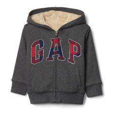 Gap Cozy Logo Zip Hoodie ($40) ❤ liked on Polyvore featuring tops, hoodies, charcoal gray, regular, charcoal hoodie, logo hoodies, hooded sweatshirt, hooded pullover and zip front hoodie