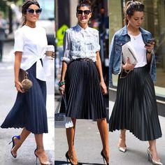 Saia plissada Source by HeatherHaworththt skirt outfit Fashion Mode, Work Fashion, Modest Fashion, Skirt Fashion, Fashion Looks, Fashion Outfits, Womens Fashion, Emo Fashion, Gothic Fashion