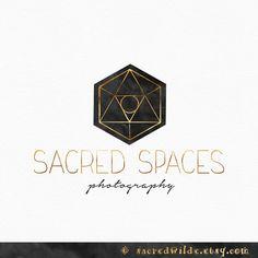 Hexagon Logo Design , Sacred Geometry , Geometric Logo , Black and Gold , Black Watercolor , Photography Logo , Bohemian Logo by SacredWilde on Etsy https://www.etsy.com/listing/260502565/hexagon-logo-design-sacred-geometry