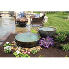 The Aquascape Spillway Bowl Water Feature gives you a versatile way to add additional waterscapes to your outdoor area with a bowl shape that provides. Landscaping With Fountains, Front Yard Landscaping, Backyard Patio, Landscaping Ideas, Outdoor Fountains, Mulch Landscaping, Landscape Fountains, Patio Pond, Landscaping Equipment