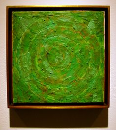 """Green Target, 9 x 9 inches, encaustic and newspaper collage on board, originally included in Jasper Johns first solo exhibition at Leo Castelli Gallery. New York Jasper Indiana, Jasper Jones, Modern Art, Contemporary Art, Neo Dada, Pop Art Movement, Blue Horse, Encaustic Painting, Old Art"