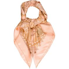 Pre-owned Herm?s Les Chants Du Henne Silk Scarf (16.875 RUB) ❤ liked on Polyvore featuring accessories, scarves, brown, colorful shawl, brown scarves, silk shawl, hermès and brown shawl