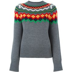 Stella Jean Multicolor Sweater ($245) ❤ liked on Polyvore featuring tops, sweaters, grey, fairisle sweater, woolen sweater, colorful sweaters, fair isle sweater and gray top
