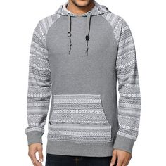 Take your style to wild new places with the rad Empyre Stones charcoal tribal pullover hoodie. The charcoal body is accented by tribal print raglan sleeves as well as a tribal print adjustable hood and kangaroo pocket to improve the look of the Empyre Sto