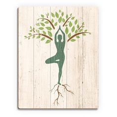 Show off this unique wall art that delights yoga lovers. This contemporary art is printed on birch wood slats with hand-distressed corners for a rustic appearance. For your convenience, it comes ready