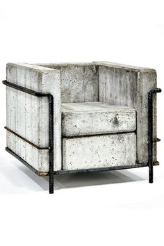 jonathandredge: concrete chair after Le Corbusier Grande Comfort. (I'd make a cushion that looks like concrete. Concrete Furniture, Garden Furniture, Modern Furniture, Home Furniture, Furniture Design, Outdoor Furniture, Beton Design, Concrete Design, Sofa Couch