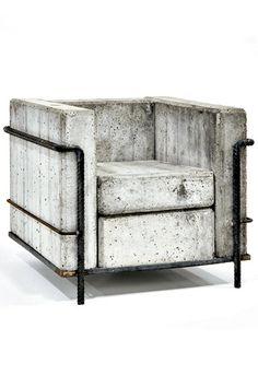 jonathandredge: concrete chair after Le Corbusier Grande Comfort. (I'd make a cushion that looks like concrete. Concrete Furniture, Garden Furniture, Modern Furniture, Home Furniture, Furniture Design, Beton Design, Concrete Design, Sofa Couch, Le Corbusier
