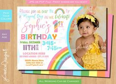 Pastel Rainbow Birthday Party Invitations Invitation Invite Pink First Girl 1st