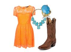 These are some of my favorite things, orange, sun dress, turquoise, and boots...cant't go wrong!