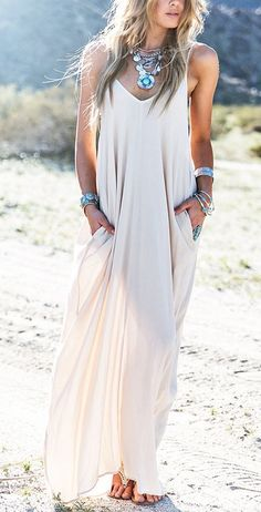 Tan Maxi Dress. Boho Summer Clothes. Dress, jewelry, and fashion. I love this style!