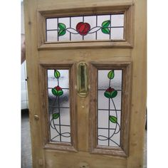 SD027 - Victorian Edwardian 5 panel Stained Glass Exterior Original Door - The Rose