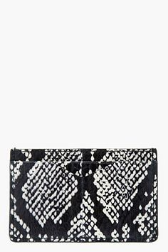 ALEXANDER MCQUEEN Black & beige snakeskin CARD HOLDER