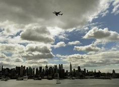 Space shuttle Enterprise arriving in New York City.