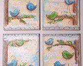 Inspirational Art, Set of 4 Inspirational Birds in blue,  8 x 10 Fine Art Prints
