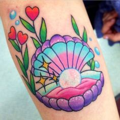 Cutest oyster and pearl tattoo