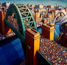 Jim Edwards - Great North Run II; Durham City, Great North, Art Uk, Paintings I Love, Landscape Paintings, Landscapes, Naive Art, City Art, Art Themes