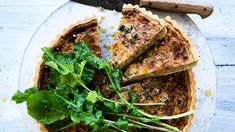 Wine, caramelised onion and cheddar quiche