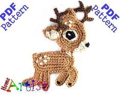 Crochet Pattern Instant PDF Download Deer Crochet Applique | Etsy Crochet Deer, Crochet Home, Crochet Gifts, Cute Crochet, Crochet Flowers, Learn Crochet, Crochet Applique Patterns Free, Christmas Crochet Patterns, Crochet Motif