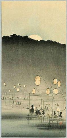 """ beifongkendo: ""Moonrise, by Uehara Konen (ca. "" ""Fading lamplight of a pagoda"" de Uehara Konen 上原古年 "" Japan Illustration, Botanical Illustration, Japanese Drawings, Japanese Prints, Japan Kultur, Japanese Woodcut, Japan Painting, Art Asiatique, Art Japonais"