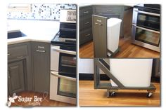 DIY Kitchen Remodel - -the BIG REVEAL! ~ Sugar Bee Crafts - trash cart with fake front