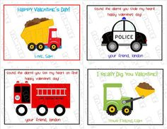 Trucks Cars Kids Valentine Cards With Envelopes Set Of 4 Customized By  Greenmelonstudios On Etsy,