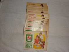 Green Stamp books. When we shopped we got green stamps and paste in these books. Then we would go to the Green Stamp Store and redeem them for all kinds of things.