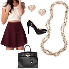 A burgundy skater skirt needs to be accessorized with gorgeous gold jewelry!