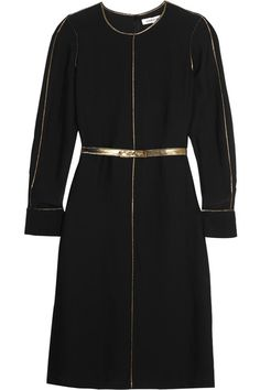 Black and gold georgette Concealed hook and zip fastening at back 65% viscose, 34% silk Dry clean Imported