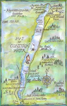 Map showing film locations used in the 1974 film of 'Swallows & Amazons' around Coniston Water in the English Lake District drawn by Sophie Neville