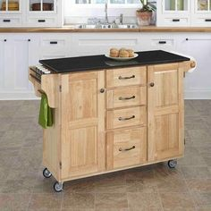 Create a Cart - Large Natural Create A Cart With Black Granite Top - 9100-1014 - Home Depot Canada