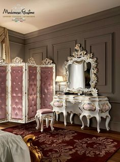 Solid wood dressing table 11205 Villa Venezia Collection by Modenese Gastone group from archi products. Classic Furniture, Luxury Furniture, Bedroom Furniture, Home Furniture, Furniture Design, Bedroom Decor, Furniture Stencil, Furniture Dolly, Furniture Showroom