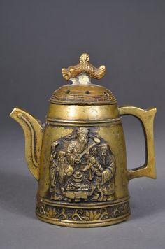 Chinese Pixiu Bronze Tea Pot & Fu Lu Shou