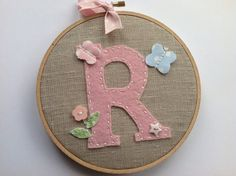 Initial monogram wall decor. Personalized baby art.