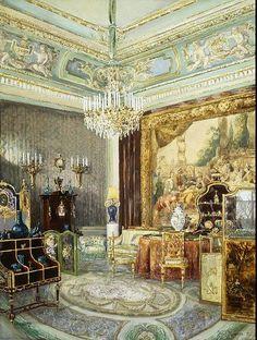 Интерьер Аничкова дворца, акварель