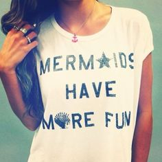 t-shirt beach mermaid starfish seashell anchor anchor necklace nautical