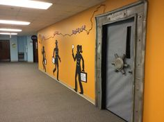 Here are some decorating ideas for a hall during VBS for Agency D3 2014. The blog will take you step by step on how to create this vault door.