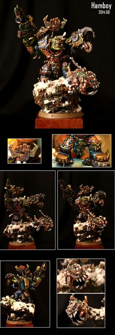 The Internet's largest gallery of painted miniatures, with a large repository of how-to articles on miniature painting Warhammer 40k Figures, Warhammer 40k Miniatures, Warhammer Fantasy, Warhammer 40000, Ork Warboss, Tabletop, Miniaturas Warhammer 40k, Orks 40k, Fantasy Battle