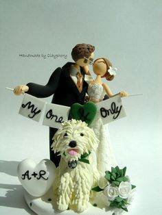 Romantic- Customized wedding cake topper with dog. $140.00, via Etsy.