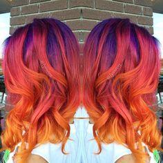 Beautiful Hair Color, Cool Hair Color, Hair Colors, Funky Hairstyles, Pretty Hairstyles, Sunset Hair, Latest Hair Trends, Mermaid Hair, Hair Dos